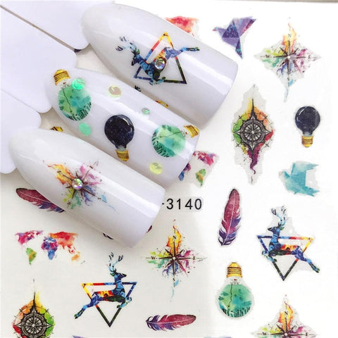 1 PC Halloween Nail Sticker Water Self Adhesive Nail Art Tattoo Big Lips/palms