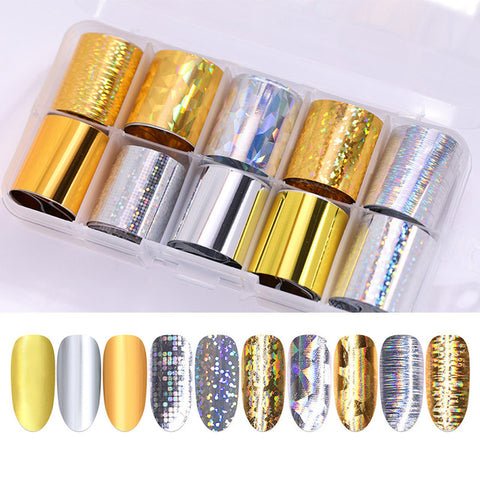 1 Box Holographic Nail Foil Set Transparent