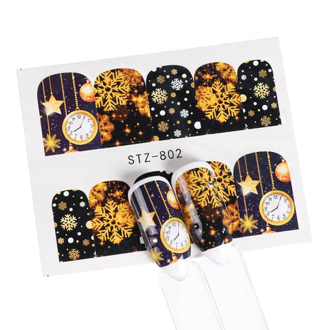 1pcs Nail Water Decals Christmas Sliders Stickers Gold Black Santa Claus Snowman Stars