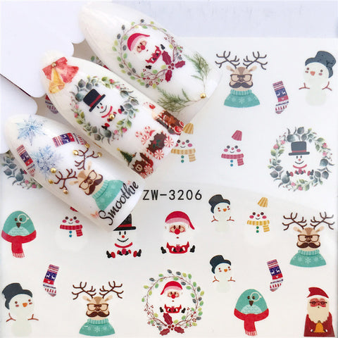 1 PC Nail Sticker Water Decals Christmas | Cactus Transfer Nail Art Decoration