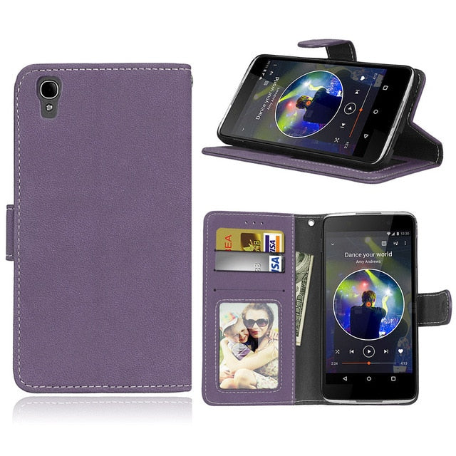 Case Wallet Leather For Alcatel One Touch Idol 4 6055U 6055Y 6055K