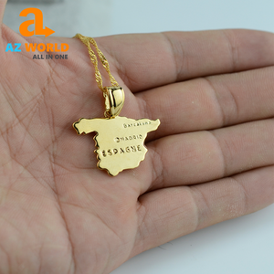 Spain Map Gold Palted Necklace - TK