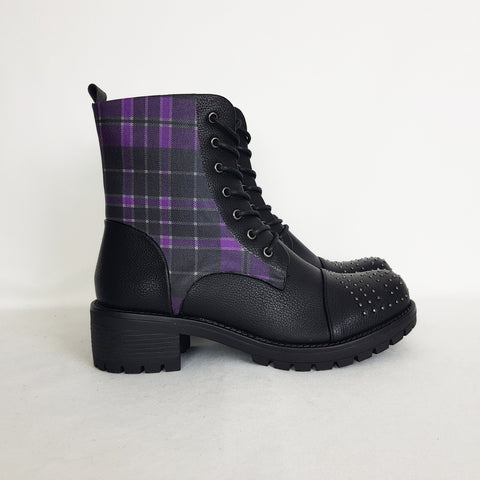 Image of Tartan Purple Punk Boots - Special Product