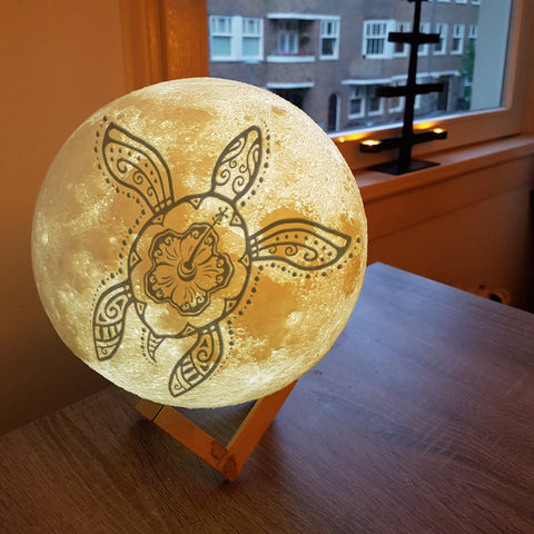 TURTLE night lamp Moon Lamps Moon Lamp HOME DECORS home decoration home decor home accessories Home & Garden Hibiscus Hawaii Hibiscus Turtle Moon Lamp hawaii for bedroom bedroom Az World Store AZ EXCLUSIVE akito