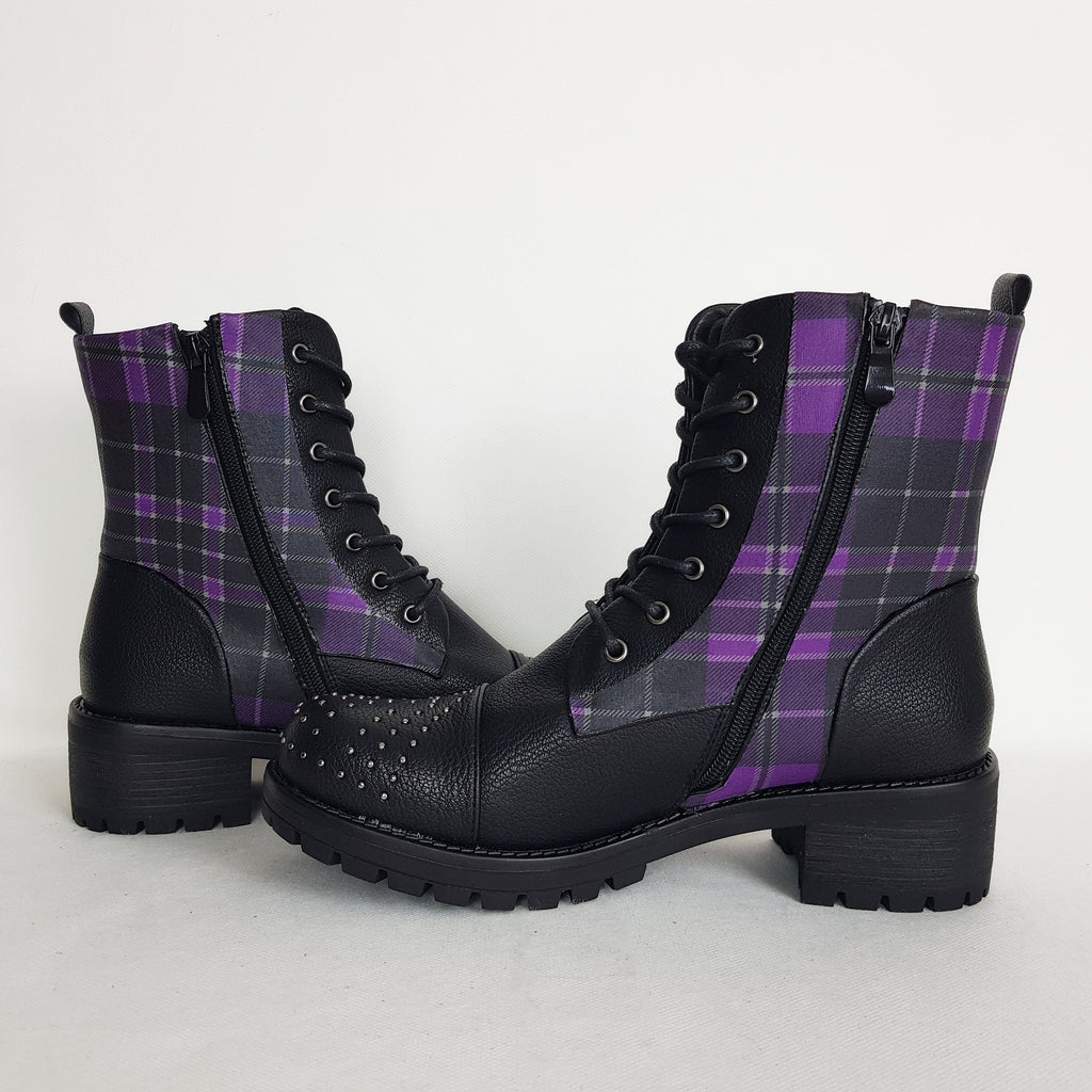 Tartan Purple Punk Boots - Special Product