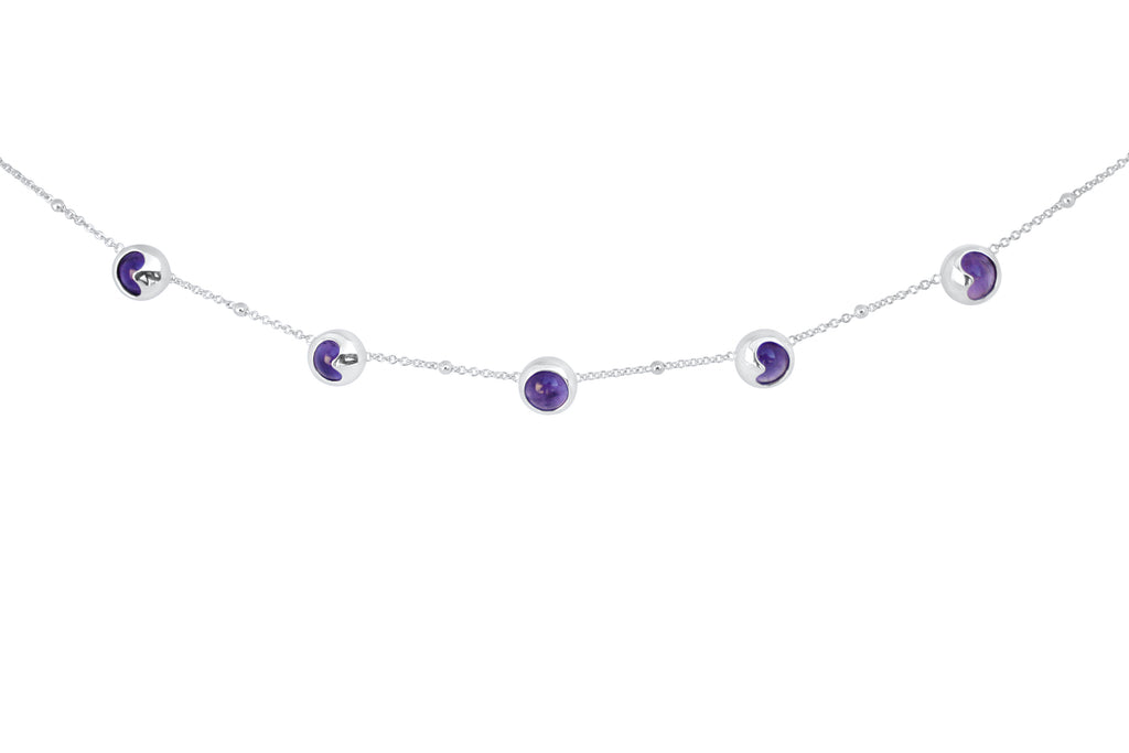 Silver and Amethyst Moon Necklace