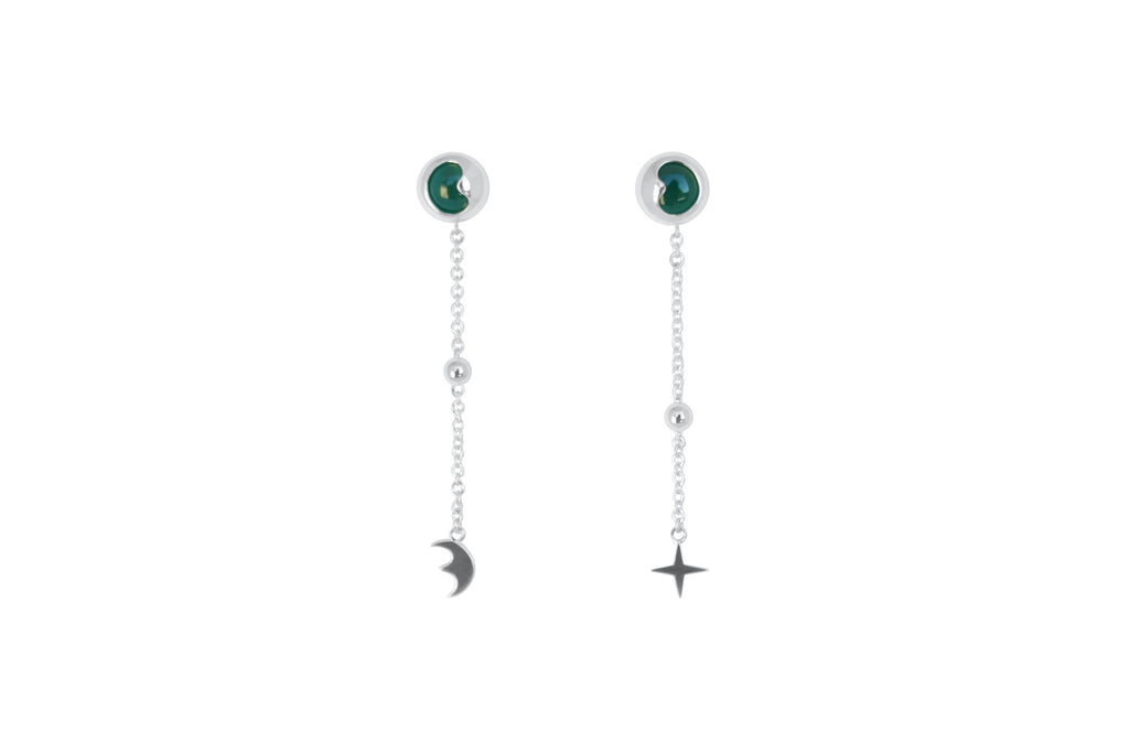 Celestial Moon Shaped Green Agate Earrings