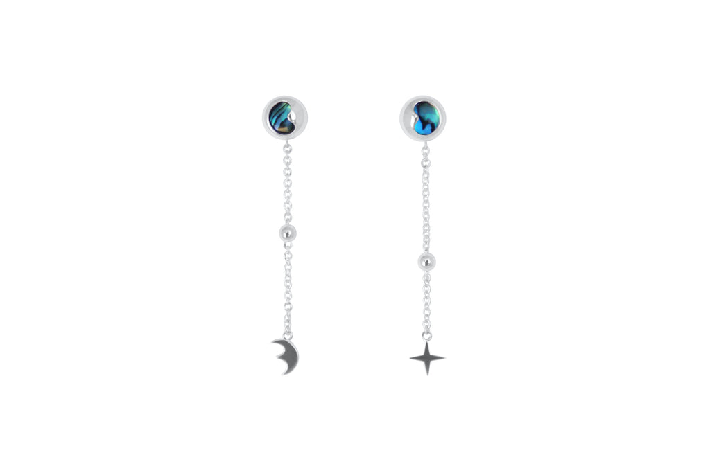 Silver and Abalone Moon and Stars earrings