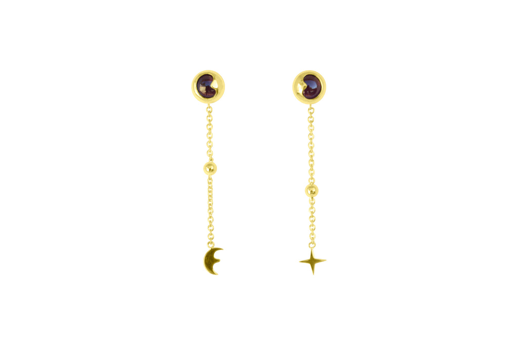 Celestial Moon Shaped Garnet Earrings