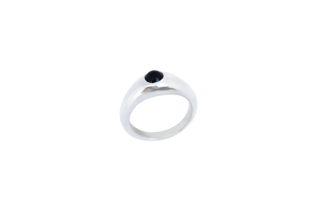 Silver black onyx stirrup ring