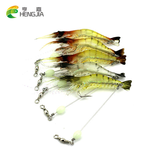3pcs Luminous Simulation Prawn soft Shrimp lure