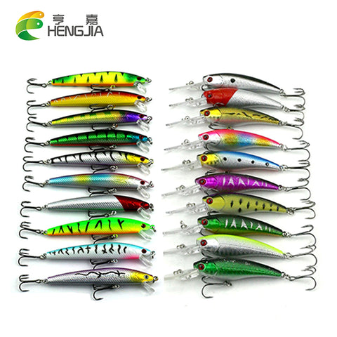 20PCS 2 Mixed Models Fishing Lures Set 20 Colors Minnow Fishing Hard Baits Bass Crankbait Sharp Hooks Fishing Tackle