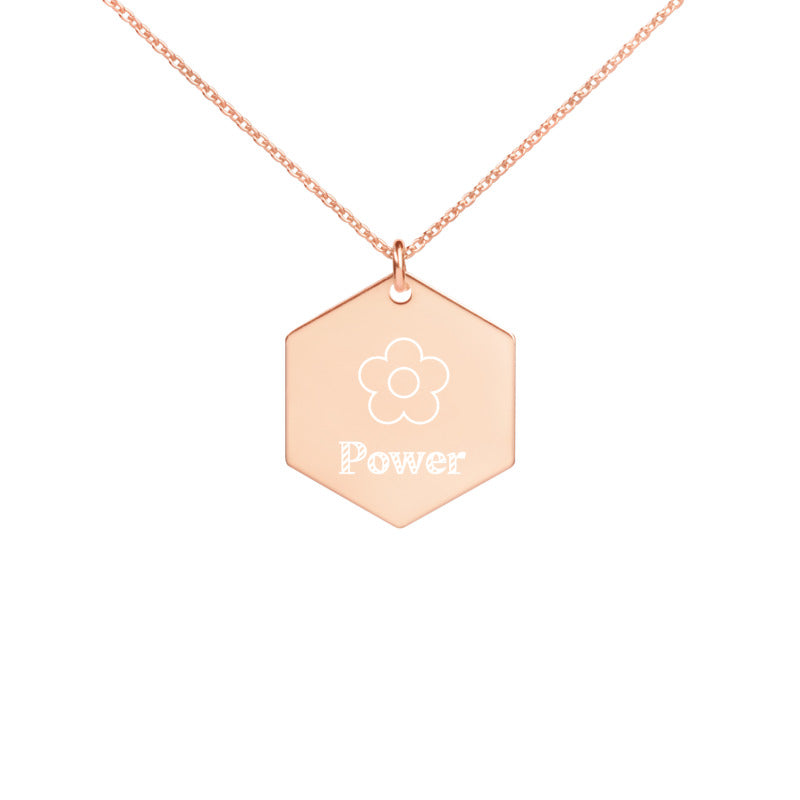 Flower Power - Engraved Hexagon Necklace