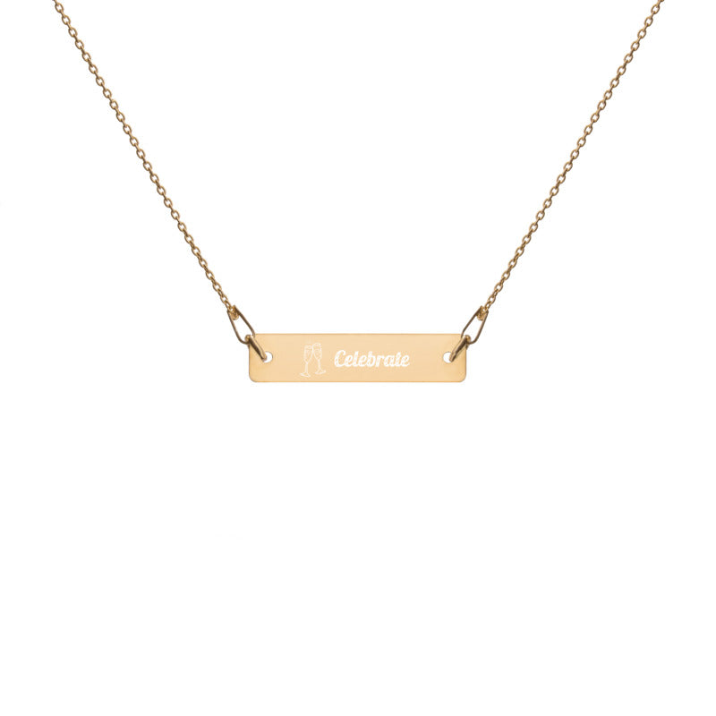 Celebrate - Engraved Bar Chain Necklace