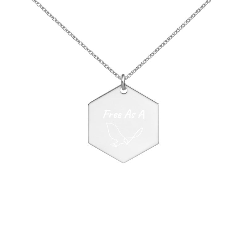 Free As A Bird - Engraved Hexagon Necklace