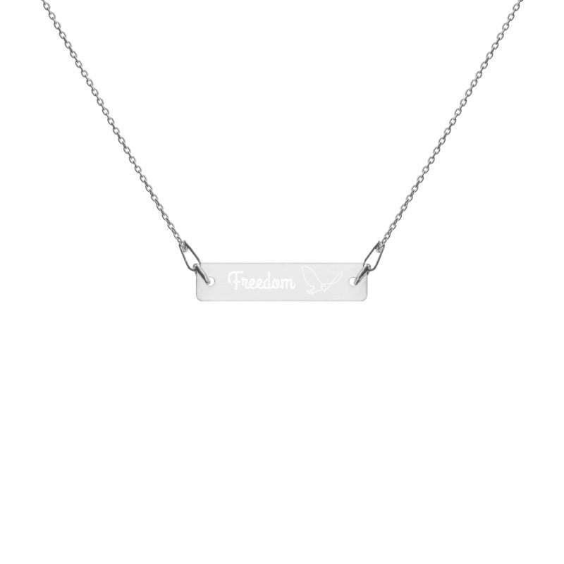 Bird of Freedom - Engraved Bar Chain Necklace