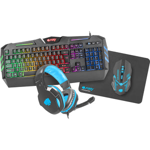 Gaming Combo Set 4 in 1 Fury Thunderstreak (tastatura, casti, mouse, mousepad)