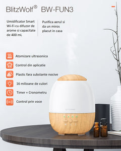 Umidificator Smart Wi-Fi ultrasonic + lampa LED RGB, BlitzWolf BW-FUN3, 400mL, compatibil Amazon Alexa si Google Assistant