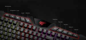 Tastatura gaming, LED RGB, Havit Gamenote KB465L, 114 taste, panou multimedia