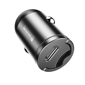Incarcator Auto, Baseus Tiny Star Mini, Quick Charge, USB Type-C, Negru