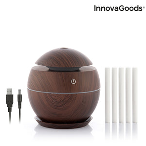 Mini umidificator ultrasonic pe USB, difuzor de arome, Innovagoods Dark Walnut, oprire automata, silentios, LED multicolor, 130 ml, lemn maro inchis | Matiado.ro