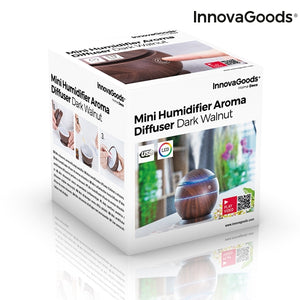 Mini umidificator ultrasonic pe USB, difuzor de arome, Innovagoods Dark Walnut, oprire automata, silentios, LED multicolor, 130 ml, lemn maro inchis