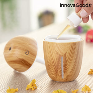 Mini umidificator ultrasonic pe USB, difuzor de arome, Innovagoods Honey Pine, oprire automata, silentios, LED multicolor, 180 ml, lemn deschis