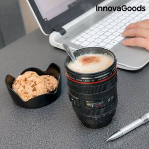 Pahar multifunctional in forma de obiectiv de camera foto InnovaGoods, 400 ml