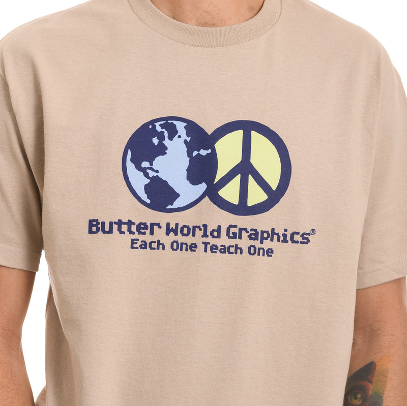 Butter Goods - World Peace Tee - Sand - Stuntwood