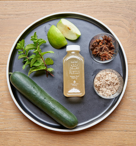 happy gut is organic plant based and filled with healing gut herbs like slippery elm and star anise. This botanical beverage focuses on feeding your gut microbiome. Always organic, plant-based, and free of gluten, dairy, corn, soy, egg, and inflammatory oils.