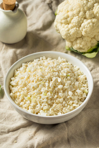 organic riced cauliflower is great to have and make a low carb anti-inflammatory delicious recipe. Always organic, plant-based and free of gluten, dairy, corn, soy, egg and toxic oils.