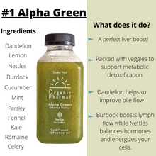 alpha green intense detox beverage, botanically infused with stinging nettle and burdock root for increased liver and blood detox