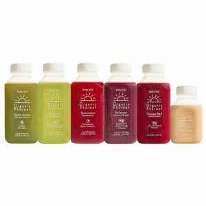 Our line up of organic botanically infused beverages in our beauty cleanse consist of alpha green, marathon, staminator, defense plus, omega red and almond chill. Always organic and plant-based free of gluten, dairy, corn, soy, egg and inflammatory oils.