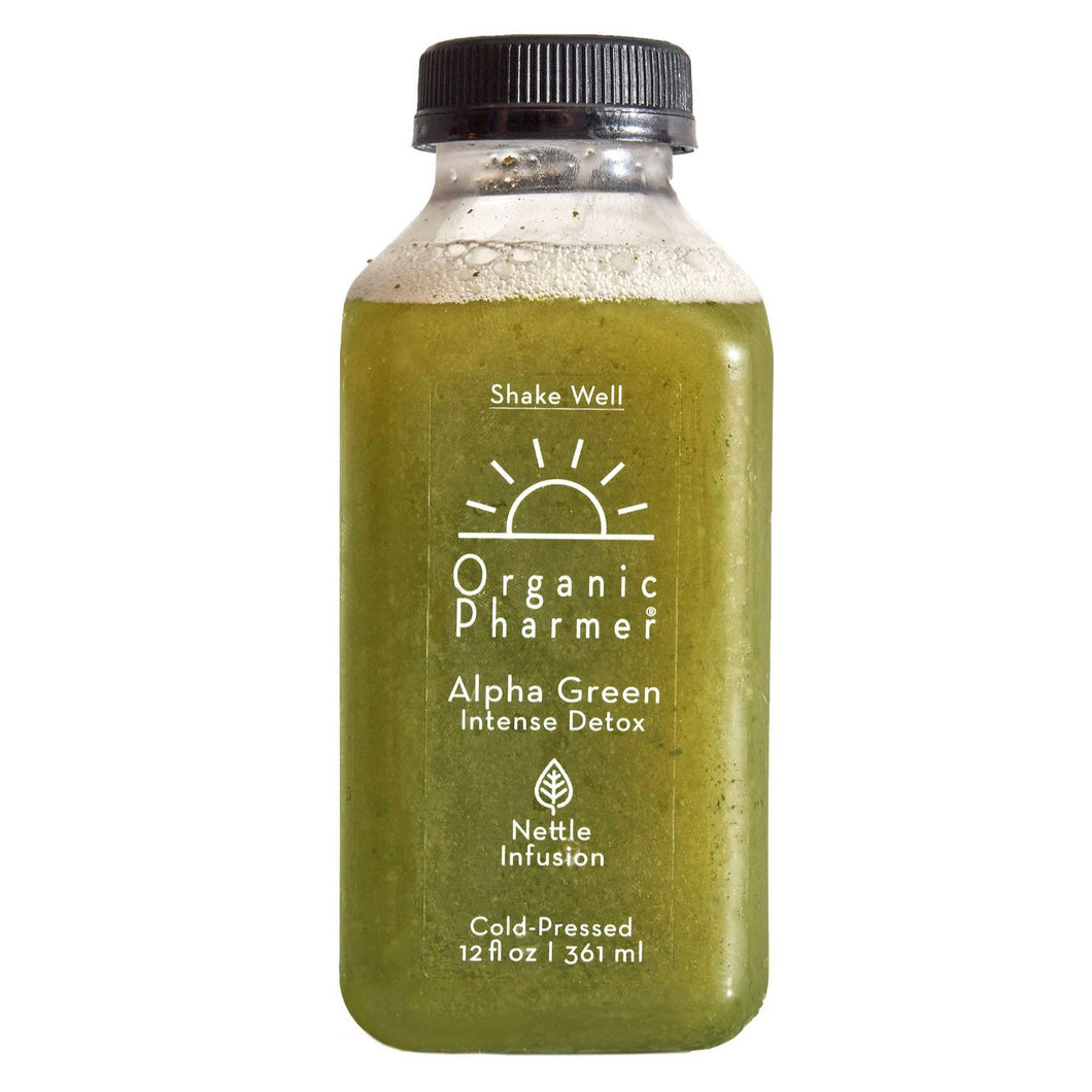 Alpha green is our daily green juice. Our intense detox beverage filled with organic and plant-based ingredients, always gluten free, dairy free, soy free, corn free, egg free. Nettle and burdock infusion increase the liver and bloods ability to detox!