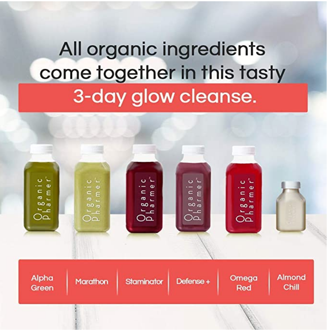 our 3 day glow beauty cleanse has all organic ingredients that are healthy and tasty. The line up of organic botanically infused beverages are packed with antioxidants that help fight free radical that can cause skin damage.