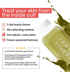 Treat your skin from the inside out! with a 3 day beauty cleanse that has skin-defending nutrients that fight free radicals and have an added layer of stress detox. Freezer-preserved for freshness of product and peak nutritional value. People can't stop raving about it