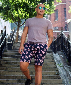 Shop Fun All Over Print Flat Front Chino Shorts. Golf Shorts for Men in Funky Novelty Prints. Going Out Shorts in Loud Patterns for Men