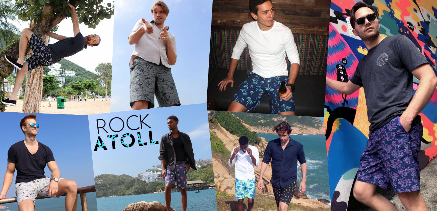 ROCK ATOLL Men's Classic Regular Fit Bermuda Shorts. Casual Wear Shorts for Going Out in Bright Prints