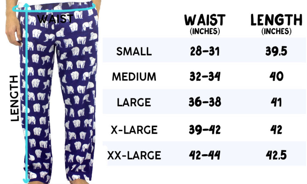 ROCK ATOLL Men's Flannel Pajama Bottoms Sizing Information Size Chart