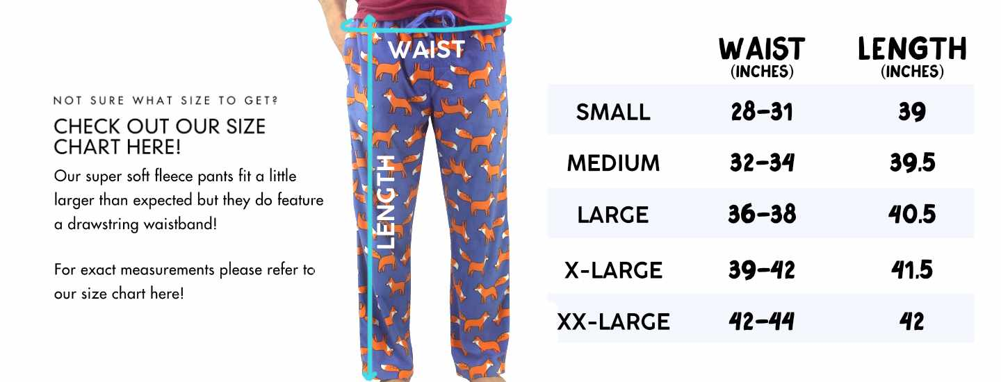 ROCK ATOLL Size Chart for Men's Long Fleece Pajama Sleep Pants