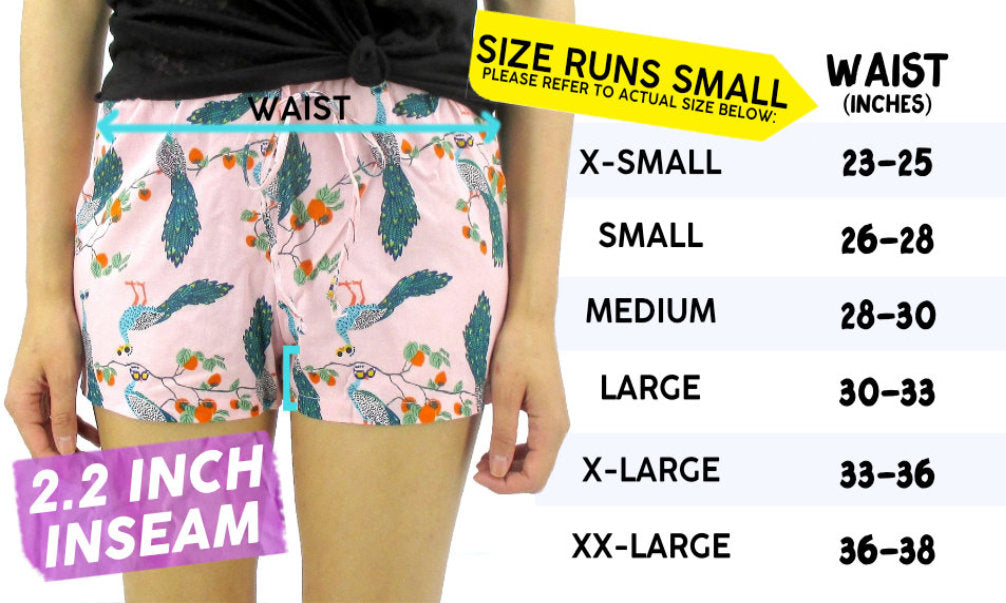 Women's Lightweight Drawstring Sleep Shorts Size Chart Sizing Information