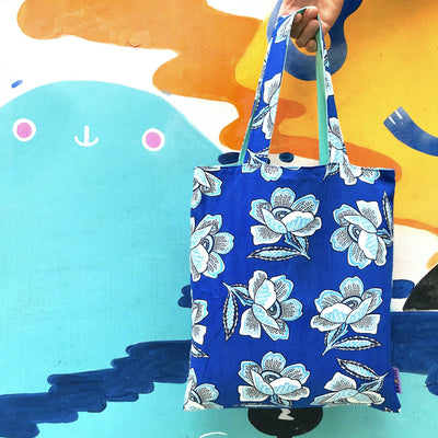 Bright Cobalt Blue Floral All Over Print Reversible Cotton Tote Bag for Women