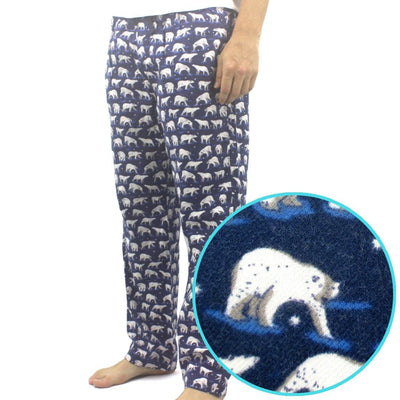 Soft Long Flannel Pajama Pants for Men with Polar Bear Pattern