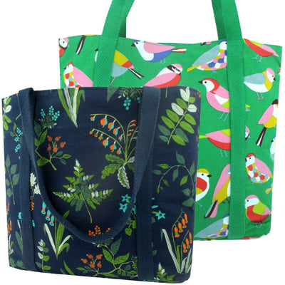 Colorful Green Bird Floral Leaves Nature Print Large Carry-All Shoulder Tote Bags Pack of 2