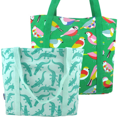 Bright Green Large Shopper Totes with Cute Animal Crocodile Bird Print | Pack of 2