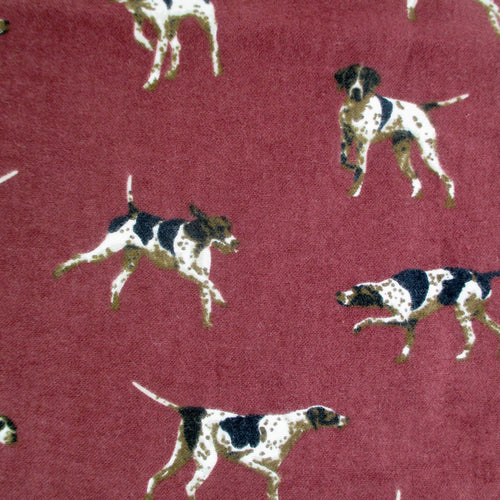Jack Russell Hound Dog Patterned Flannel Pants for Men in Dark Red