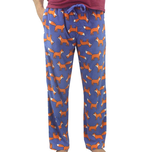 Bright Blue Orange Fox Patterned Soft Warm Fleece Pajama Pants for Men with Pockets