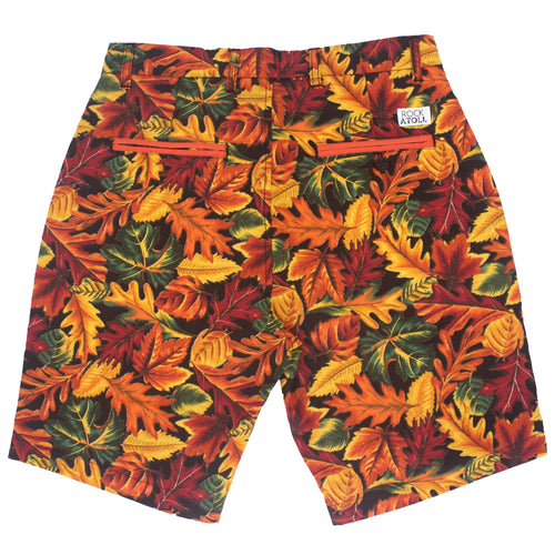 Autumn Colors Fall Leaves Outdoorsy Flat Front Print Shorts for Men