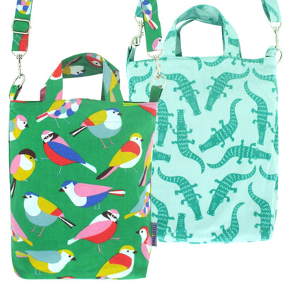 Pack of 2: Green Animal Themed Bird Crocodile Pattern Crossbody Top Handle Tote Duck Bag