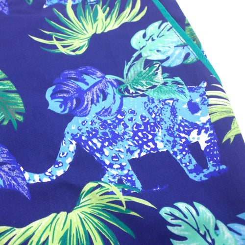Bright Blue Bold Crazy Leopard Pattern Flat Front Shorts for Men